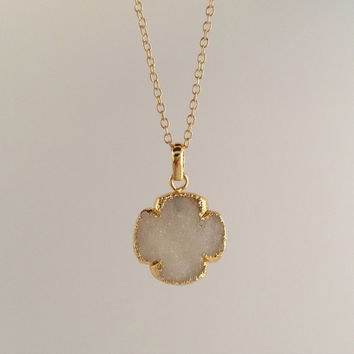 """White Druzy """"Blessed"""" Clover Gold Pendant Necklace"""