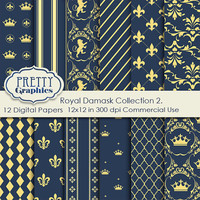 ROYAL DAMASKCOLLECTION 2. - Printable Papers - Commercial Use - 12x12 JPG Files - Scrapbook Papers - High Quality 300 dpi