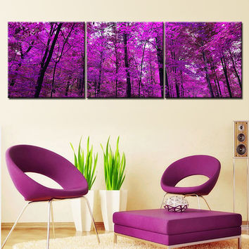 Purple Tree Oil Painting Canvas Art Modern Landscape Painting Cuadros Decoration Wall Pictures for Living Room No Frame 3 Pieces