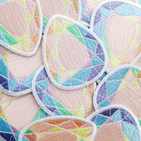 Rainbow Pastel Gem Stone Patch - Iron On Patch - Pastel Patch - Rainbow Patch