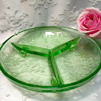 Vintage Green Depression Glass Candy or Trinket Dish for Vintage Home - Looks like Vaseline Glass