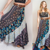 70s High Waisted Silk Maxi Skirt S XS | Patchwork Floral Gypsy Skirt - Size Small | Festival Boho Chic Full Swing Sheer Hippie Vintage Maxi