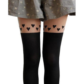 Cute Hearts Thigh High Tights