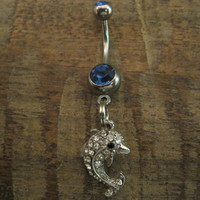 Belly Button Ring - Body Jewelry - Rhinestone Dolphin with Double Dk. Blue Gem Stones Belly Button Ring