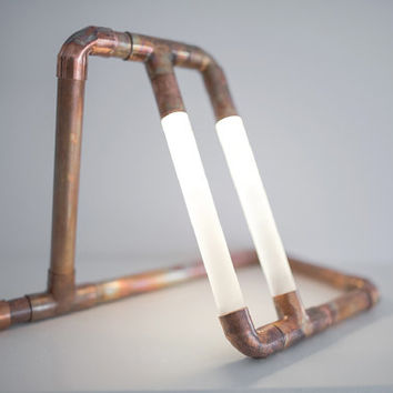 Copper LED Pipe Lamp • The Kris • Copper Pipe • Desk Lamp • Accent Lighting • Pipe Light • LED • Artistic Lamp