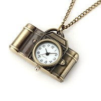 Bronze Metal Camera Necklace Chain Pendant Pocket Watch 1.69x1.14""