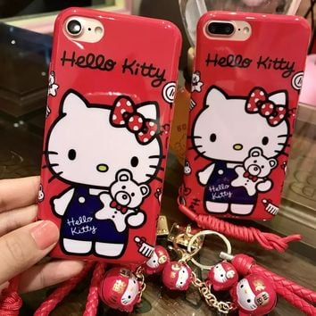 Red Hello kitty case For iPhone 7 7plus 6 plus soft tpu back cover for iphone7 6splus case kt cat Toys pendant Small bell starp