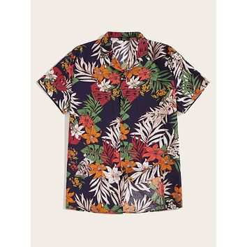 Men Button Front Tropical Print Shirt