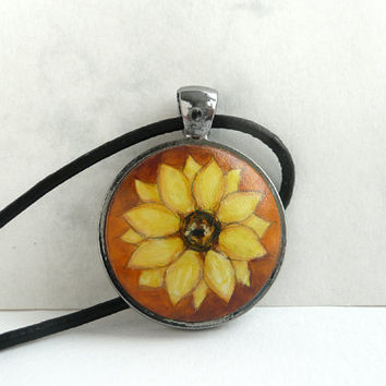Hand Painted Necklace, Sunflower Charm Necklace, Sunflower Jewelry Flower Painting, Anthracite Metallic Bezel Necklace Leather Cord, Artdora