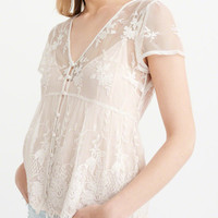 Womens Two-Piece Lace Top   Womens Tops   Abercrombie.com