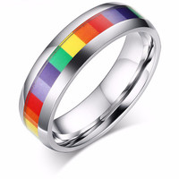 Rainbow Stainless Steel Wedding Ring