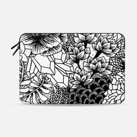 "Black & White Bouquet Macbook 12"" sleeve by M I C H I K O 