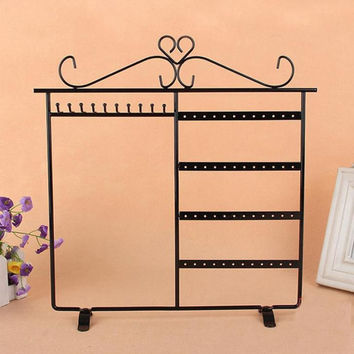 New 48 Holes Metal Stand Earrings Ear Studs Jewelry Display Show Rack Stand Organizer Holder Showcase Jewelry Box