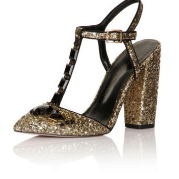 **Little Mistress 'Grace' Gold T-Bar Heels