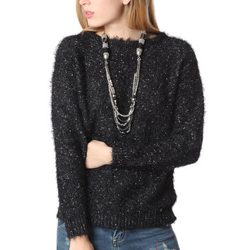 Q2 Black Speckled Sweater In Soft Touch Fabric