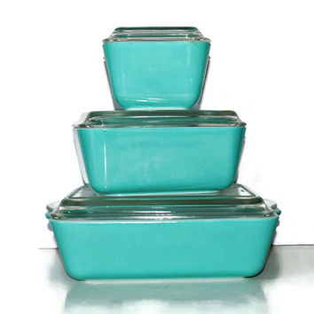 AQUA Pyrex Refrigerator Dishes Refrigerator Boxes Space Saver 3 Piece Set - (#400.2)