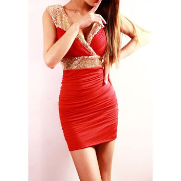 Red Sequined V-Neck Sleeveless Dress