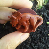 A pair of Triceratops wood plugs, hand carved plugs, ear gauges, saba wood plugs, organic plugs, organic body jewelry.