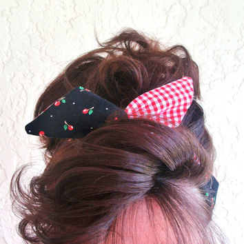 Reversible Dolly Bow Black Cherry over Red Gingham 50s Rockabilly Wire Headband Flexible Pin Up Teen Women