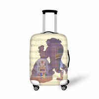 FORUDESIGNS Beauty and the beast Elastic Travel Luggage Protective Cover Suitcase Cover Waterproof Luggage Dust Waterproof Cover