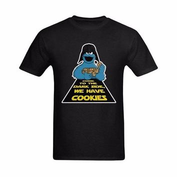 LMFON Short Sleeve T Shirts Men 2017 New Spring Summer Cookie Monster Come To The Dark Side We Have Cookies