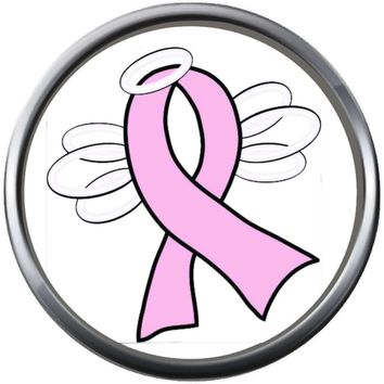 Angel Wings And Halo Honor Pink Breast Cancer Ribbon Survivor Cure By Awareness 18MM - 20MM Snap Jewelry Charm