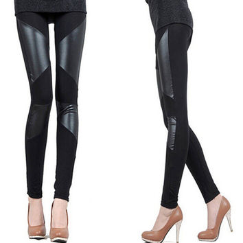 2016 New Fashion Women Faux Leather Leggings For Women Stitching Stretchy Black Skinny PU Leggins,Slim Fit Ladies Sexy Legging
