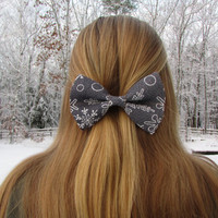 Gray With White Snowflakes Winter Holiday Burlap Hair Bow