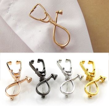1pc New Doctor Nurse Clothing Accessories Stethoscope Pin Medical Delicate Brooch Physician men jewelry Women stranger things