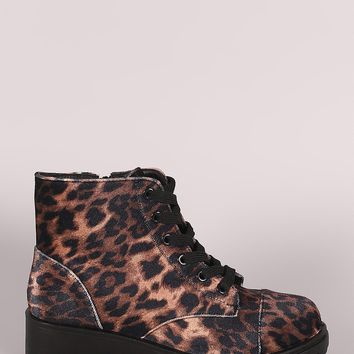 Bamboo Leopard Velvet Lace-Up Combat Ankle Boots