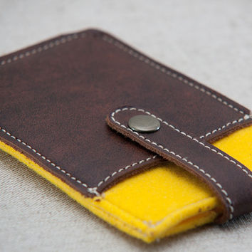 iPhone felt case. iPhone 4s case with metal button closure and pocket. Yellow felt iPhone sleeve. Leather IPhone case.