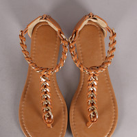 Chain Embellished T-Strap Thong Flat Sandal