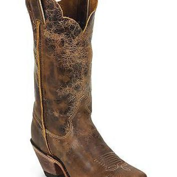 Justin Women's Bent Rail Crackle Cowgirl Boot Square Toe - BRL122