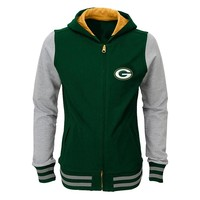Green Bay Packers Varsity Hoodie Jacket - Girls 7-16, Size: