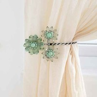 Triple Beaded Flower Curtain Tie-Back- Blue One