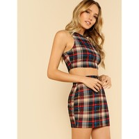 Multicolor Plaid Polyester Skirt