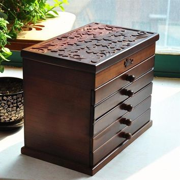 6 Drawers Large Jewellery Box Wooden Organizers Storage Display Case Necklace