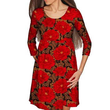 Hot Tango Gloria Empire Waist Red Floral Dress - Women