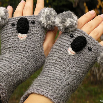 KOALA GLOVES ANIMAL Mittens Fingerless Bear Crocheted Hand Warmers Autumn Winter Wildlife Zoo Kids Adults Wool Free Shipping Worldwide