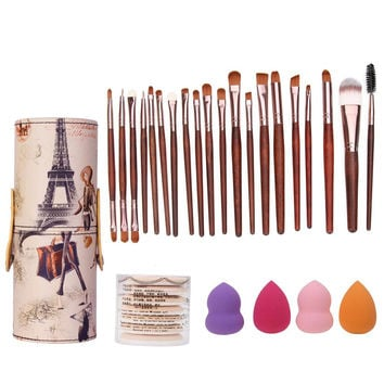 Brush Holder Barrel+20Pcs Makeup Brushes+7Pcs Sponge Puff Air Puff+4Pcs Sponge Cosmetic Puff Makeup Tool