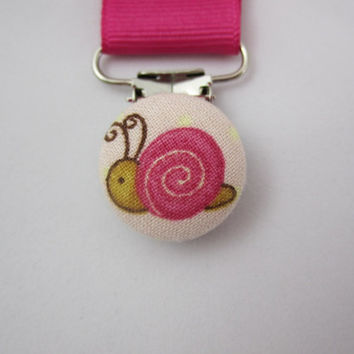 Pink Snail Pacifier Clip -  Baby Girl - Hot Pink Grosgrain Ribbon - Embellished Suspender Clip