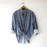 vintage gray shirt. button down boyfriend shirt. oversized work shirt. pigment dyed button up shirt