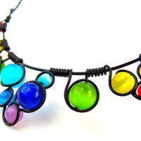 Wire Wrapped Necklace - Rainbow Cats Eye Beads Black Wire and Adjustable Matching Chain