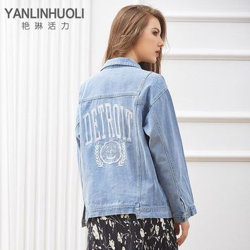 Trendy YANLINHUOLI Autumn & Winter Casual Women Denim Jacket Embroidered Frayed Jeans Coat Loose Outwear Chaquetas Mujer AT_94_13