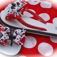 Custom Boutique Disney Vacation Girls Toddler Minnie Mickey Mouse Ribbon Flip Flops sizes 8 9 10 11 12 13 1 2 3 4