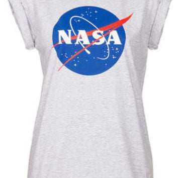 Nasa Tee By Tee And Cake - Grey Marl