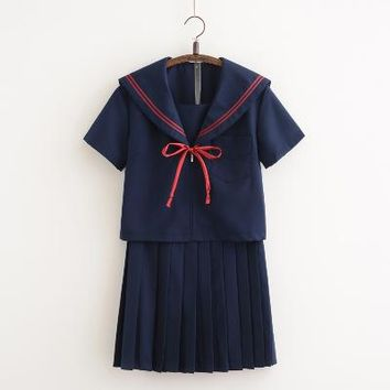 2018 new Japanese School Uniforms For Girls Cute Long-length Sailor Tops Pleated Skirt Full Sets Cosplay JK Costume Series