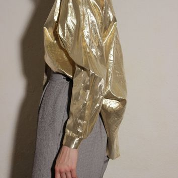 Gold Metallic Blouse / L