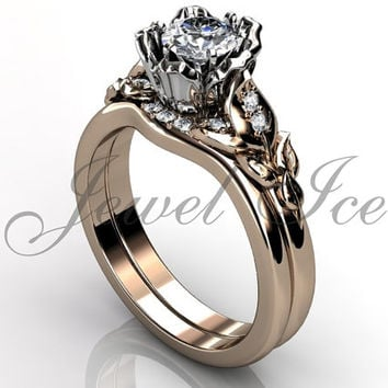 Engagement Ring Set - 14k Rose and White Gold Diamond Unique Flower Wedding Band Engagement Ring Set Bridal Set ER-1120-6