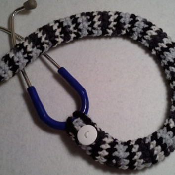 Black Gray White Mix Crochet Stethoscope Cover, LPN, RN, CNA, medical fashion accessories